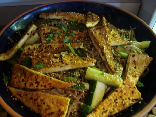 Soba Noodles In Soy Vinegar Dressing With Tofu on The Yogi Movement by Monica Dawn Stone